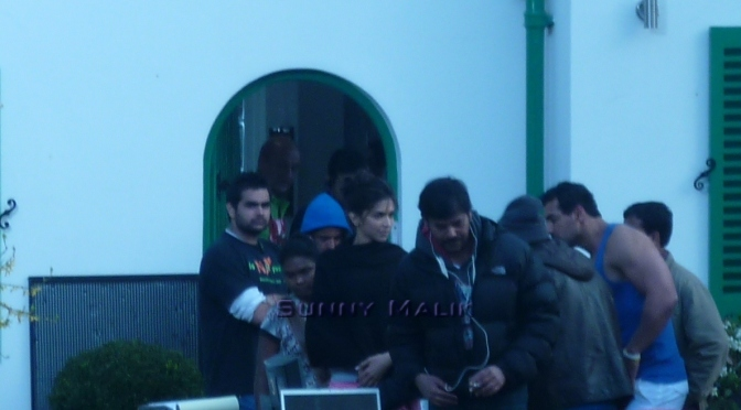 John Abraham, Deepika Padukone and Anupam Kher on the sets of Desi Boyz