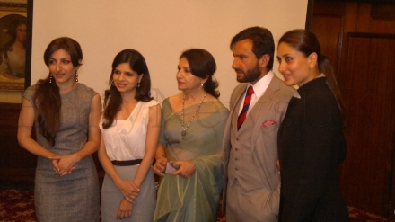 Saif Ali Khan, Kareena Kapoor, Sharmila Tagore, Soha Ali Khan Pataudi and  Saba Ali Khan in London