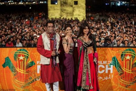 Anurag Basu, Ileana D'Cruz and Priyanka Chopra in Marrakech