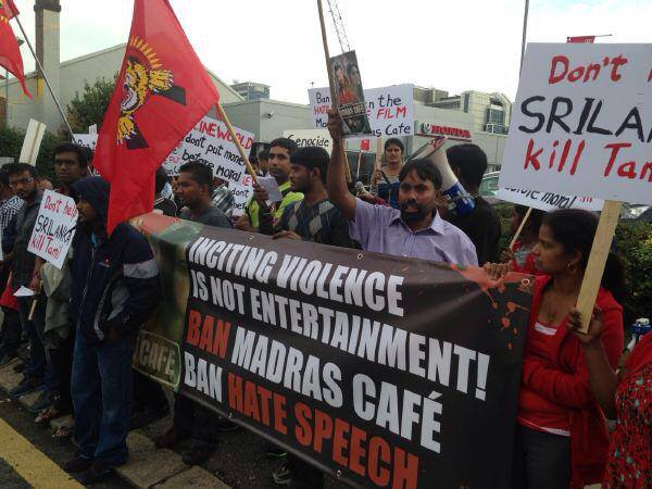 Protests Madras Cafe UK