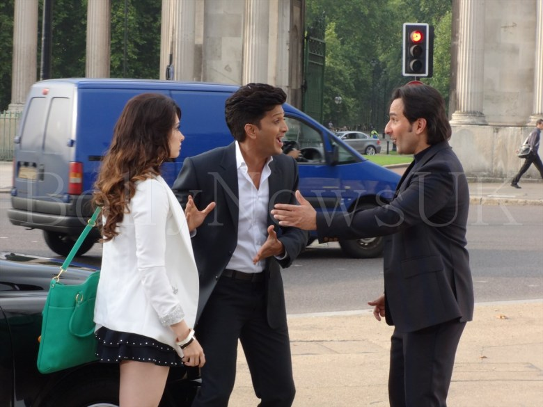 Saif Ali Khan, Riteish Deshmukh, Tamanaah in London , Humshakals (2)