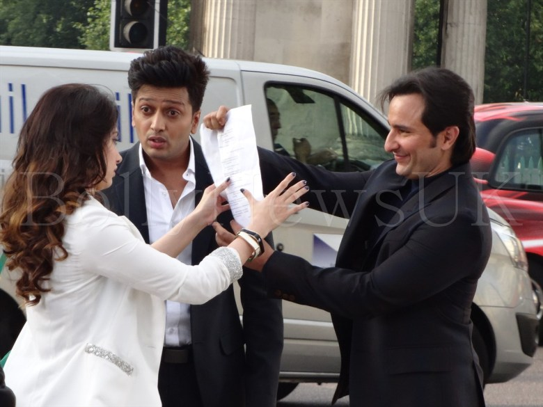 Saif Ali Khan, Riteish Deshmukh, Tamanaah in London , Humshakals (3)