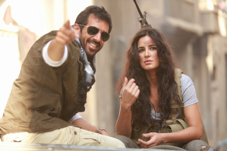 Director Kabir Khan with Katrina Kaif on the sets of Phantom