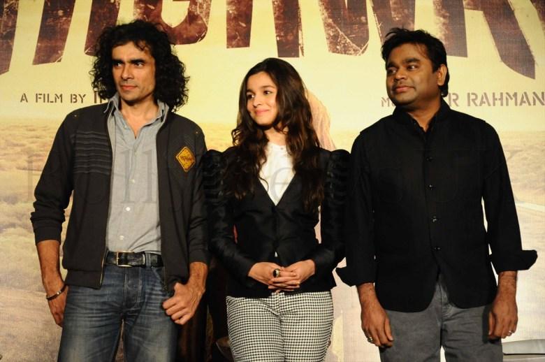 Imtiaz Ali,Alia Bhatt & A R Rahman @ the 'Highway'event