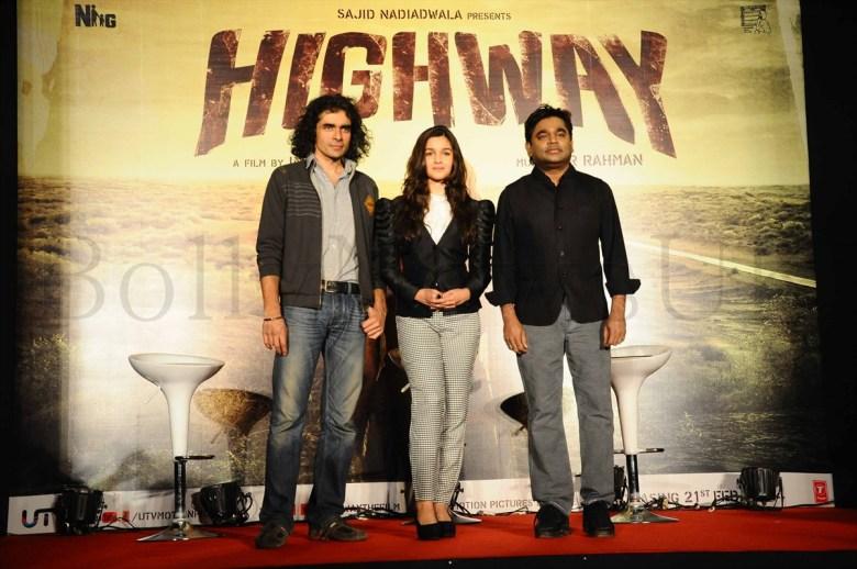 Imtiaz Ali,Alia Bhatt &A R Rahman @ the 'Higway'event