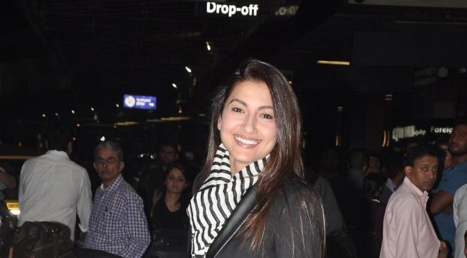 Spotted: Gauahar Khan and Kushal Tandon at Mumbai Airport