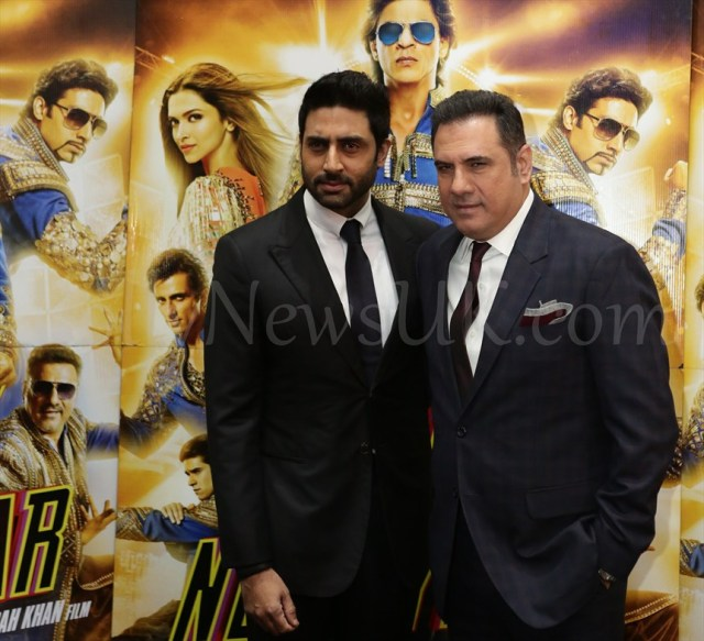 Boman and Abhishek at  Happy New Year SLAM Press Conference in London (1)