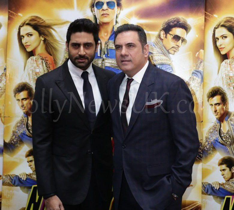 Boman and Abhishek at  Happy New Year SLAM Press Conference in London (2)