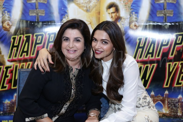 Deepika Padukone and Farah Khan at Happy New Year promotions in London