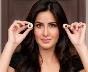 Katrina Kaif holds eyes against her own as a colour reference for Madame Tussauds London's sculptors to get them spot on for her wax figure, coming in 2015[5]