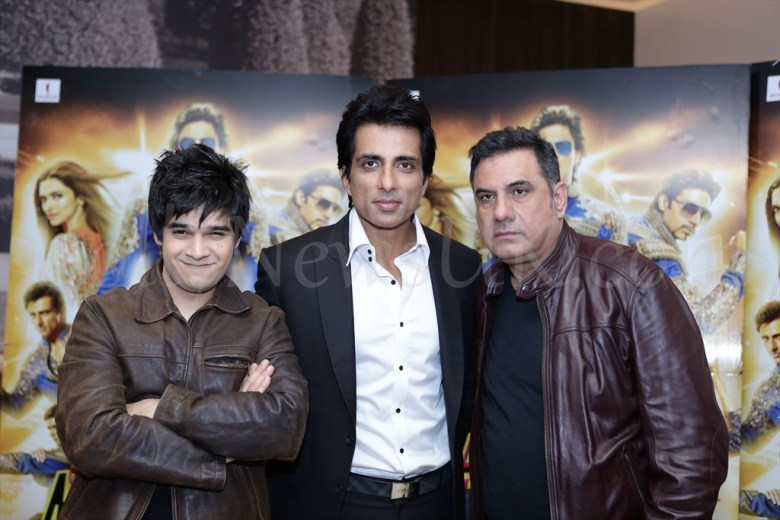 Vivaan Shah, Sonu Sood and Boman Irani at Happy New Year promotions in London
