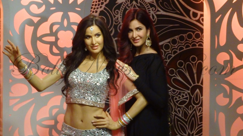 Katrina Kaif poses with her  wax figure at Madame Tussauds London