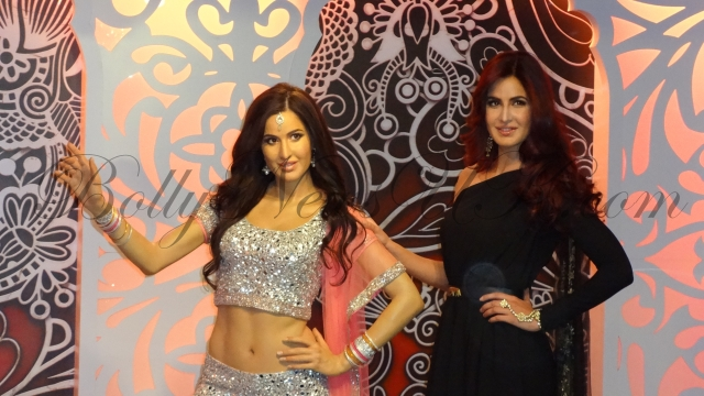 Katrina Kaif poses with her  wax figure at Madame Tussauds London