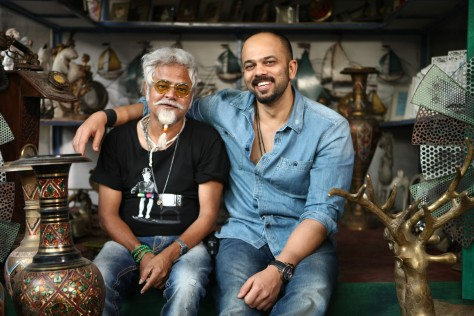 SANJAY MISHRA AND ROHIT SHETTY ON DAY ONE SHOOT OF DILWALE 675C7019
