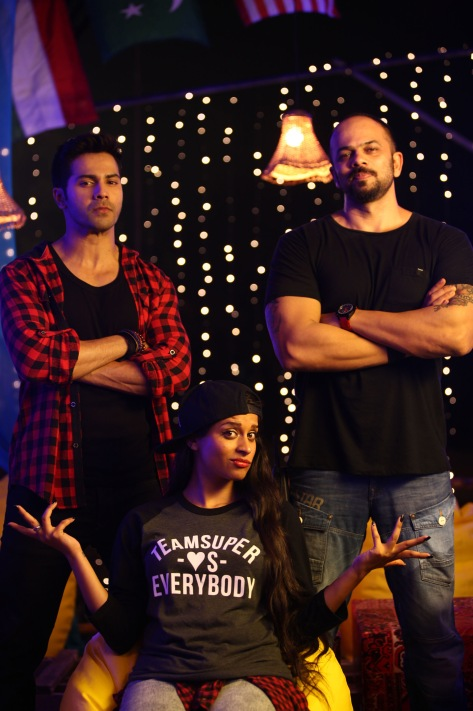 VARUN DHAWAN, ROHIT SHETTY AND SUPERWOMAN ON THE SETS OF DILWALE 675C8023