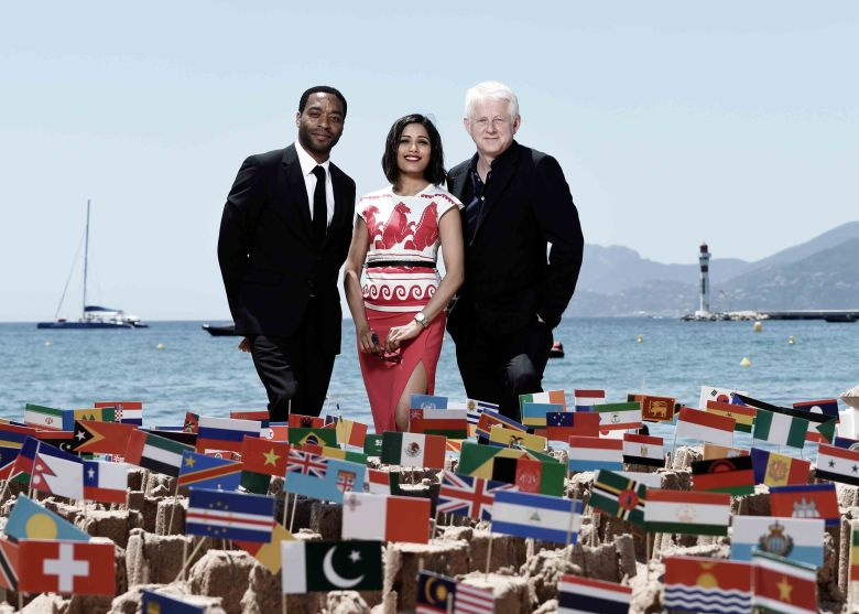 Chiwetel Ejiofor, Freida Pinto and Richard Curtis