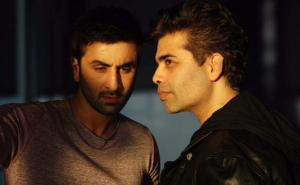 Karan and Ranbir during a night shoot at London St. Pancras Station