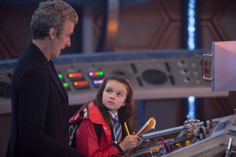 Picture shows: (l-r) Peter Capaldi as The Doctor, Abigail Eames as Maebh
