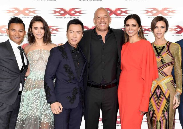 "LONDON, ENGLAND - JANUARY 10: (L-R) Tony Jaa, Nina Dobrev, Donnie Yen, Vin Diesel, Deepika Padukone and Ruby Rose attend the European Premiere of Paramount Pictures' ""xXx: Return of Xander Cage"" on January 10, 2017 in London, United Kingdom. (Photo by Stuart C. Wilson/Getty Images for Paramount Pictures) *** Local Caption *** Tony Jaa; Nina Dobrev; Donnie Yen; Vin Diesel; Deepika Padukone; Ruby Rose"