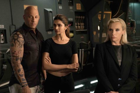 (L-R) Vin Diesel as Xander Cage, Deepika Padukone as Serena Unger, and Toni Collette as Jane Marke in xXx: RETURN OF XANDER CAGE by Paramount Pictures and Revolution Studios