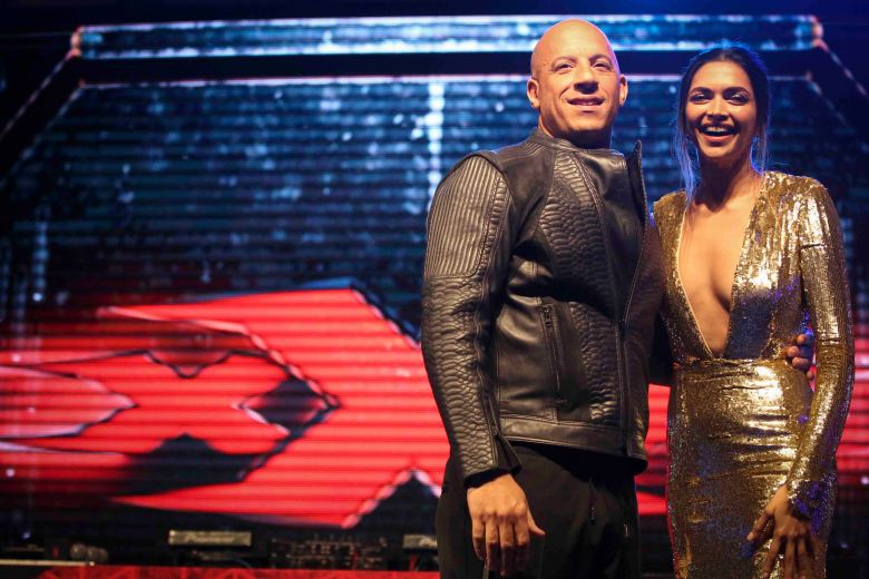 "MUMBAI, INDIA – JANUARY 12: Vin Diesel and Deepika Padukone attend the Mumbai Fan Event of the Paramount Pictures Title ""xXx"" on January 12, 2017 at PVR, Phoenix Lower Parel in Mumbai, India. (Photo by Ritam Banerjee /Getty Images for Paramount Pictures)"