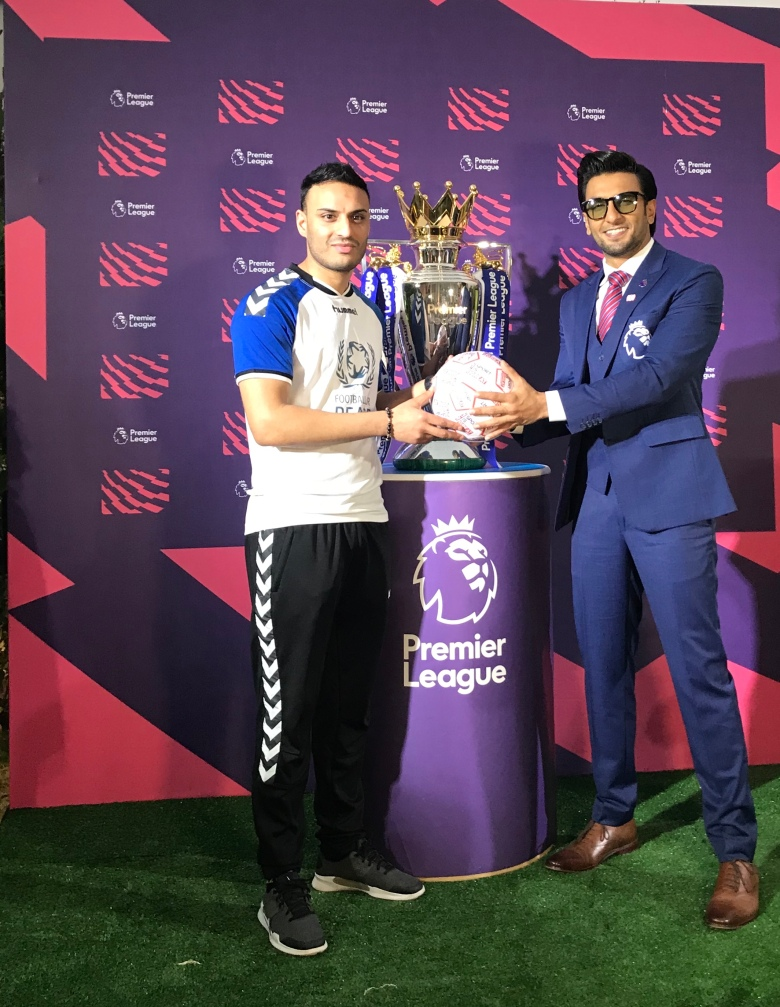 Football For Peace co-founder Kashif Siddiqi with Bollywood actor Ranveer Singh during the launch ceremony of FFP's India chapter in Mumbai on Friday evening